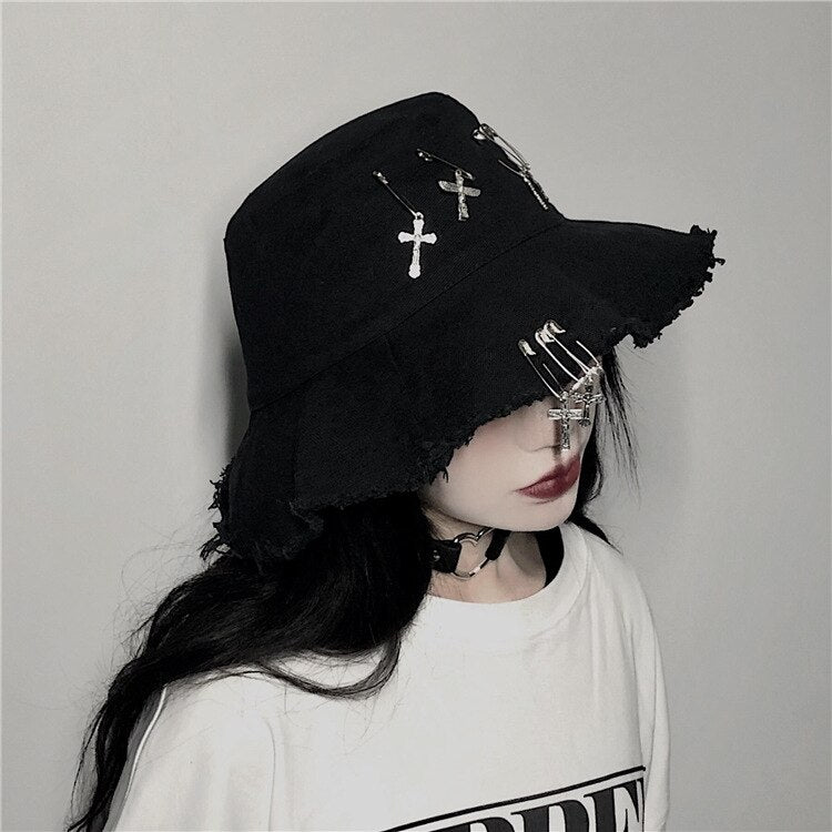 Crossed Safety Pin Bucket Hat