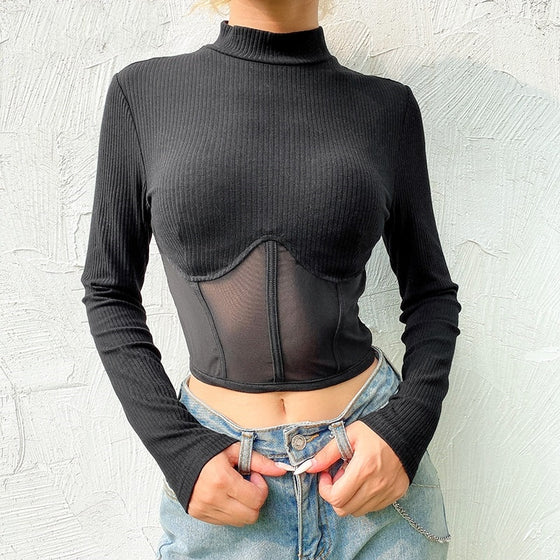 Sheer Corset Crop Top