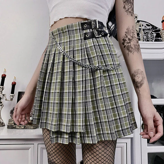 Private Scholled Plaid Skirt - ALTERBABE Shop Grunge, E-girl, Gothic, Goth, Dark Academia, Soft Girl, Nu-Goth, Aesthetic, Alternative Fashion, Clothing, Accessories, Footwear