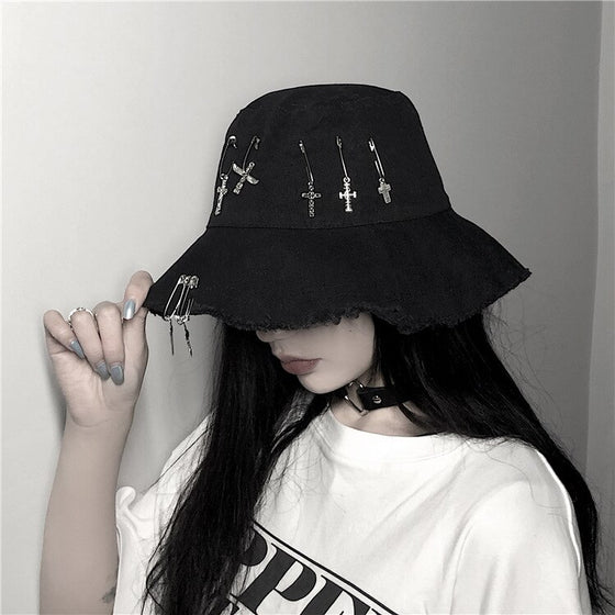 Crossed Safety Pin Bucket Hat - ALTERBABE Shop Grunge, E-girl, Gothic, Goth, Dark Academia, Soft Girl, Nu-Goth, Aesthetic, Alternative Fashion, Clothing, Accessories, Footwear