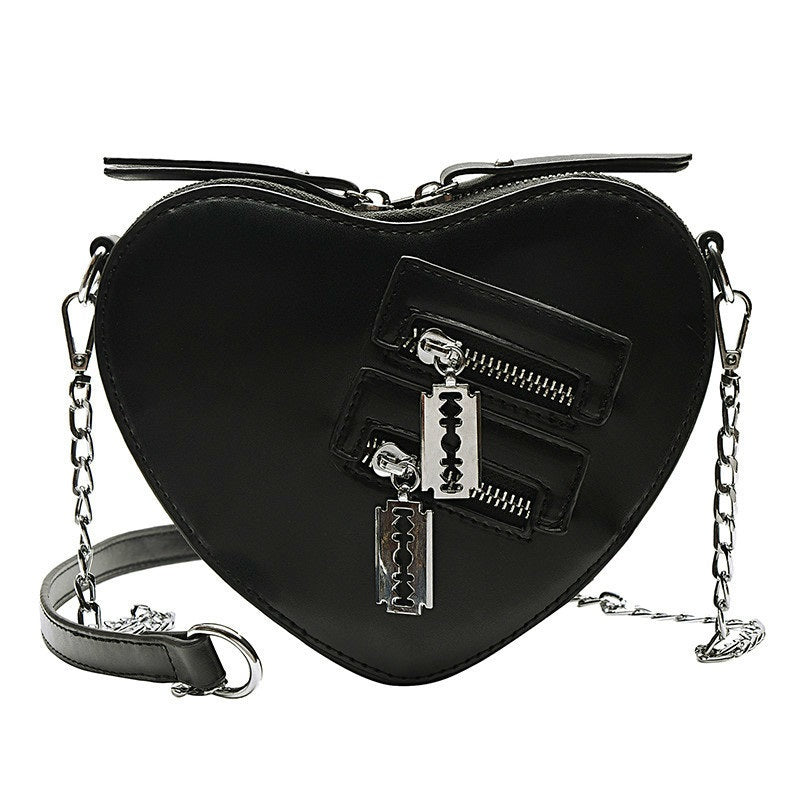 Sharp Heart Shoulder Bag - ALTERBABE Shop Grunge, E-girl, Gothic, Goth, Dark Academia, Soft Girl, Nu-Goth, Aesthetic, Alternative Fashion, Clothing, Accessories, Footwear