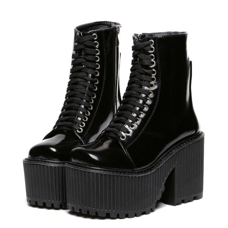 Shock Lace-Up Platform Boots - ALTERBABE Shop Grunge, E-girl, Gothic, Goth, Dark Academia, Soft Girl, Nu-Goth, Aesthetic, Alternative Fashion, Clothing, Accessories, Footwear