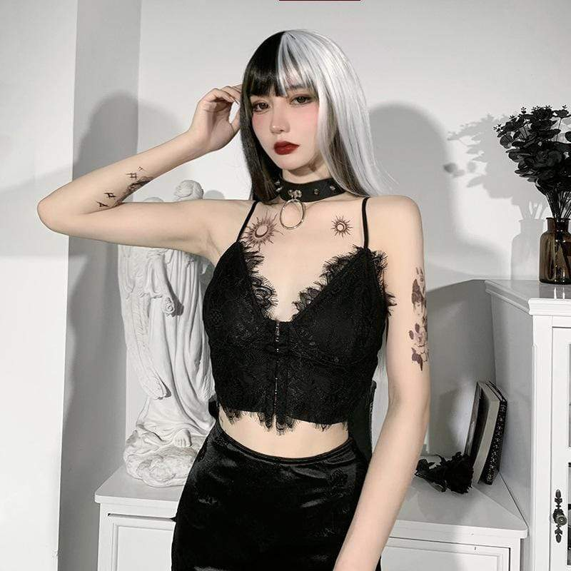 Crushing On You Lace Top - ALTERBABE Shop Grunge, E-girl, Gothic, Goth, Dark Academia, Soft Girl, Nu-Goth, Aesthetic, Alternative Fashion, Clothing, Accessories, Footwear