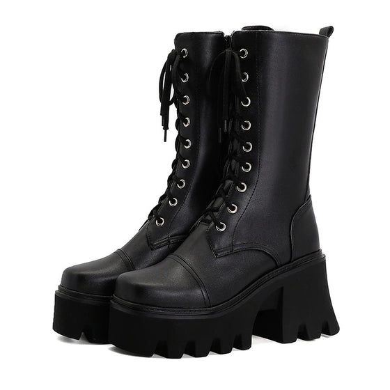 Step It Up Platform Boots - ALTERBABE Shop Grunge, E-girl, Gothic, Goth, Dark Academia, Soft Girl, Nu-Goth, Aesthetic, Alternative Fashion, Clothing, Accessories, Footwear