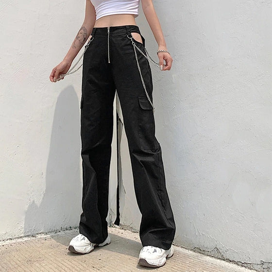 Cut-Out Chained Cargo Pants