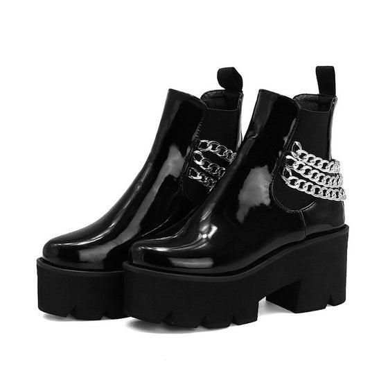 Chained Chelsea Platform Boots - ALTERBABE Shop Grunge, E-girl, Gothic, Goth, Dark Academia, Soft Girl, Nu-Goth, Aesthetic, Alternative Fashion, Clothing, Accessories, Footwear
