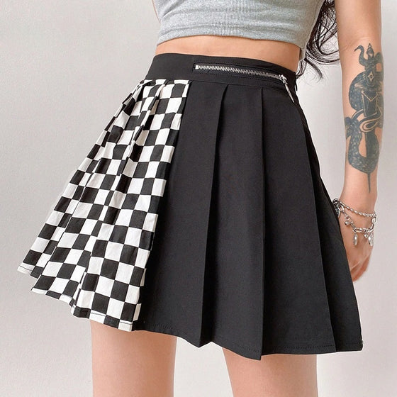 Half Checkered Pleated Skirt - ALTERBABE Shop Grunge, E-girl, Gothic, Goth, Dark Academia, Soft Girl, Nu-Goth, Aesthetic, Alternative Fashion, Clothing, Accessories, Footwear