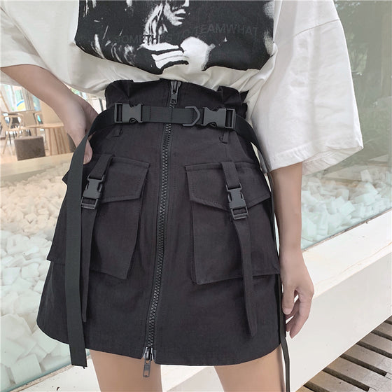 Night Cargo Mini Skirt - ALTERBABE Shop Grunge, E-girl, Gothic, Goth, Dark Academia, Soft Girl, Nu-Goth, Aesthetic, Alternative Fashion, Clothing, Accessories, Footwear