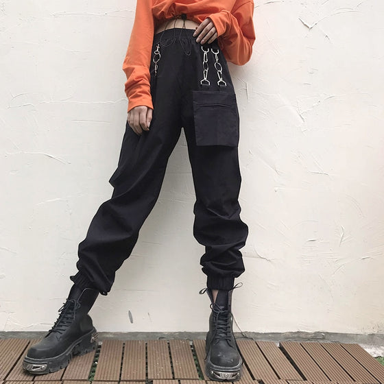 Linked Up Cargo Joggers - ALTERBABE Shop Grunge, E-girl, Gothic, Goth, Dark Academia, Soft Girl, Nu-Goth, Aesthetic, Alternative Fashion, Clothing, Accessories, Footwear