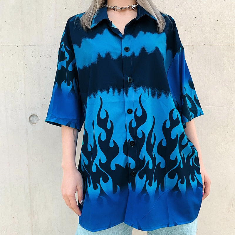 Blue Flame Button Down Top