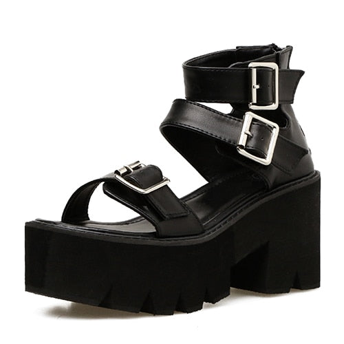 Bondage Platform Sandals - ALTERBABE Shop Grunge, E-girl, Gothic, Goth, Dark Academia, Soft Girl, Nu-Goth, Aesthetic, Alternative Fashion, Clothing, Accessories, Footwear