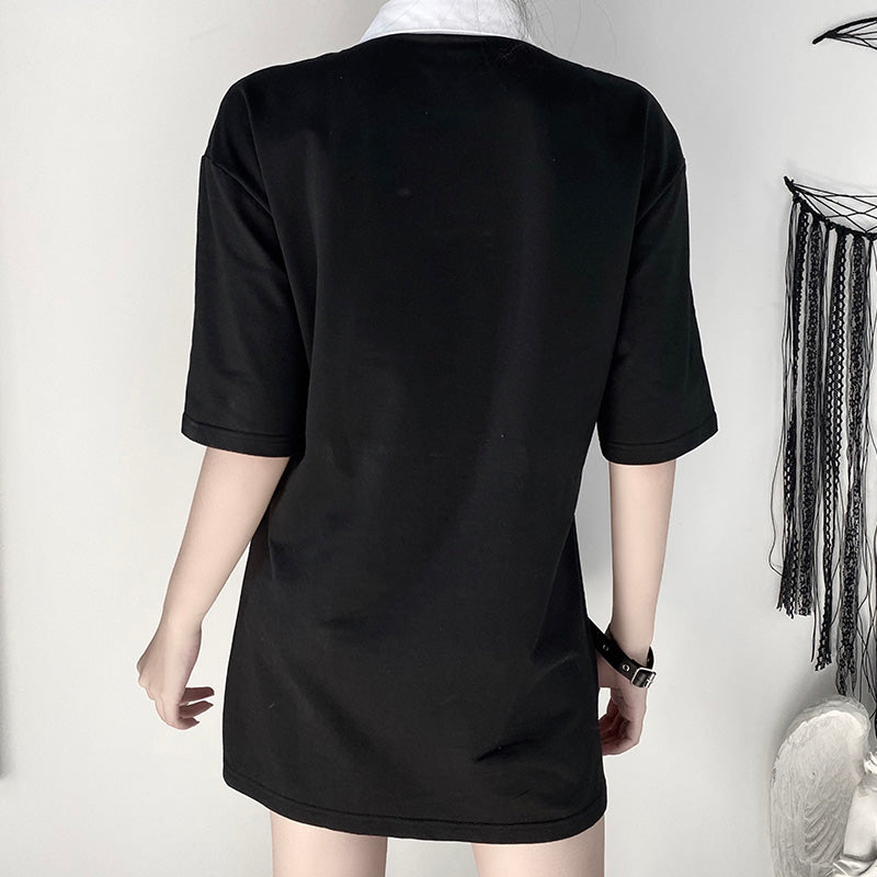 Dragon Babe Polo Shirt - ALTERBABE Shop Grunge, E-girl, Gothic, Goth, Dark Academia, Soft Girl, Nu-Goth, Aesthetic, Alternative Fashion, Clothing, Accessories, Footwear