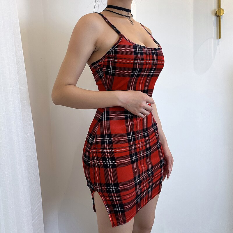 Plaid Troublemaker Dress - ALTERBABE Shop Grunge, E-girl, Gothic, Goth, Dark Academia, Soft Girl, Nu-Goth, Aesthetic, Alternative Fashion, Clothing, Accessories, Footwear