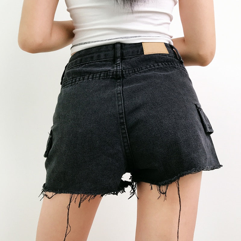 Chained Cargo Denim Shorts