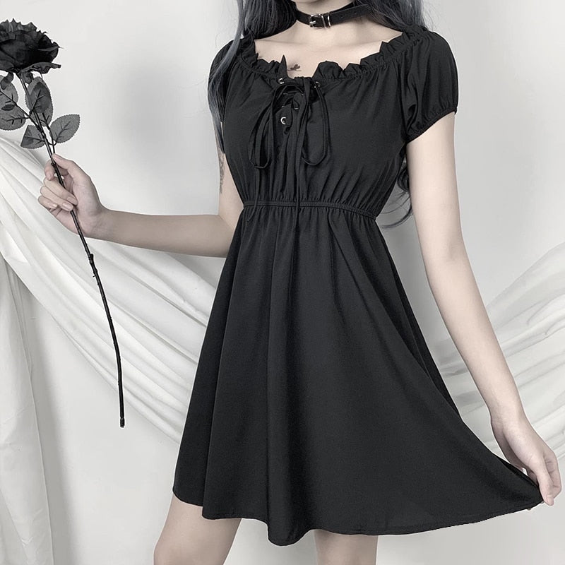 Firzt Luv Off Shoulder Dress - ALTERBABE Shop Grunge, E-girl, Gothic, Goth, Dark Academia, Soft Girl, Nu-Goth, Aesthetic, Alternative Fashion, Clothing, Accessories, Footwear