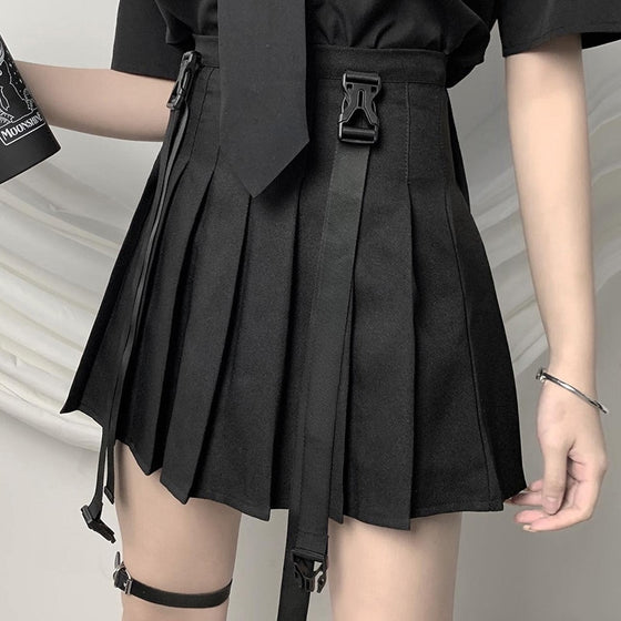 Buckle Suspender Pleated Skirt - ALTERBABE Shop Grunge, E-girl, Gothic, Goth, Dark Academia, Soft Girl, Nu-Goth, Aesthetic, Alternative Fashion, Clothing, Accessories, Footwear
