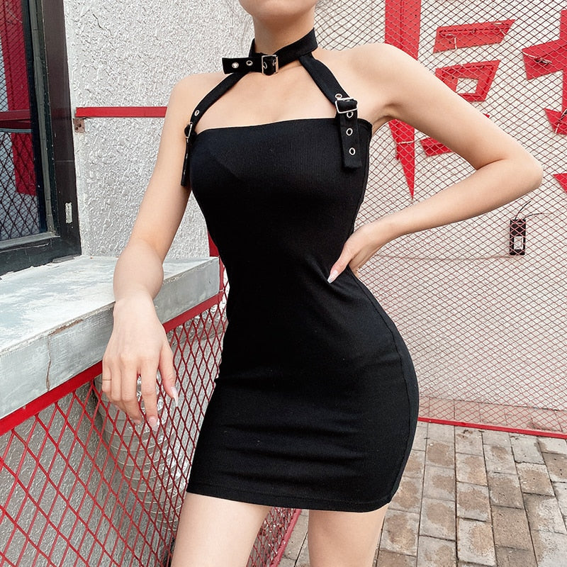 Buckled Up Choker Dress
