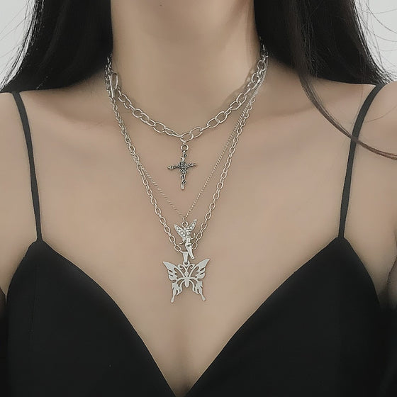 Fluttering Prayers Layered Necklace - ALTERBABE Shop Grunge, E-girl, Gothic, Goth, Dark Academia, Soft Girl, Nu-Goth, Aesthetic, Alternative Fashion, Clothing, Accessories, Footwear
