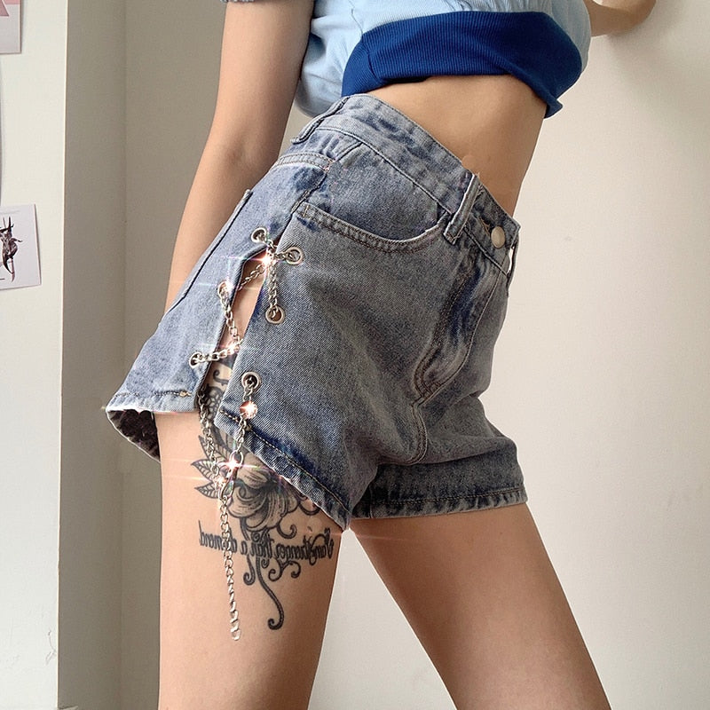 Chained Up Denim Shorts