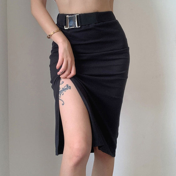 Buckle Slit Midi Skirt