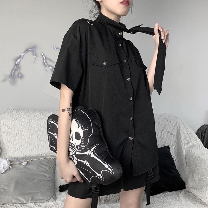 Baddie Academy Collared Shirt - ALTERBABE Shop Grunge, E-girl, Gothic, Goth, Dark Academia, Soft Girl, Nu-Goth, Aesthetic, Alternative Fashion, Clothing, Accessories, Footwear