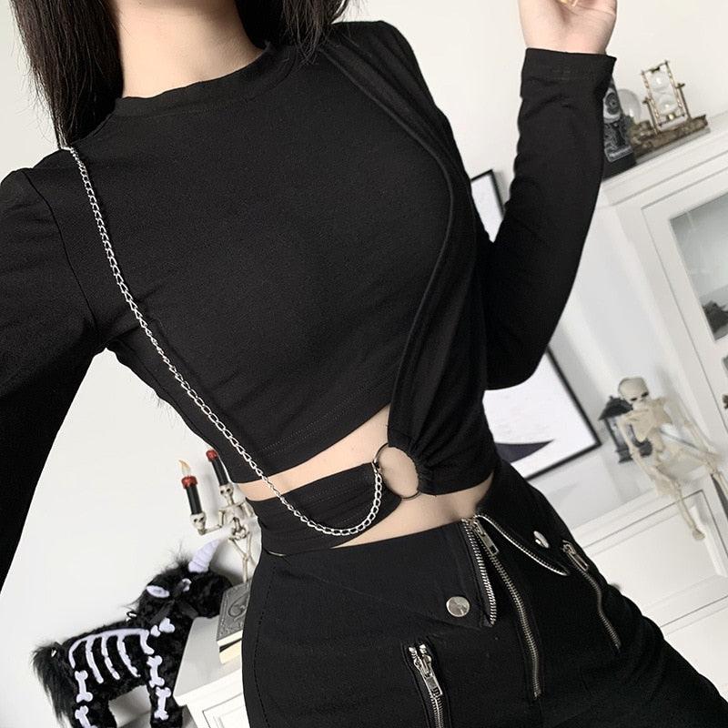 Long Sleeve Wrap Chain Crop Top - ALTERBABE Shop Grunge, E-girl, Gothic, Goth, Dark Academia, Soft Girl, Nu-Goth, Aesthetic, Alternative Fashion, Clothing, Accessories, Footwear