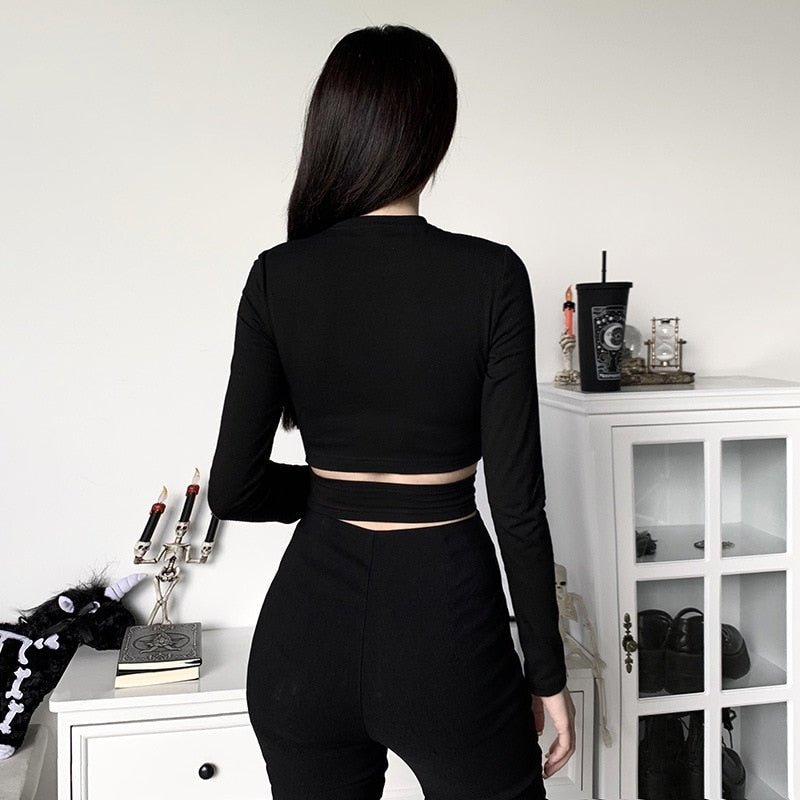 Long Sleeve Wrap Chain Crop Top