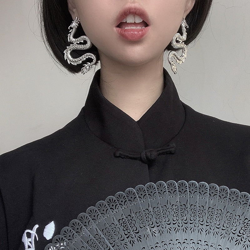 Endless Luck Dragon Earrings - ALTERBABE Shop Grunge, E-girl, Gothic, Goth, Dark Academia, Soft Girl, Nu-Goth, Aesthetic, Alternative Fashion, Clothing, Accessories, Footwear