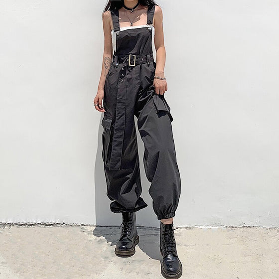 Belted Cargo Overall - ALTERBABE Shop Grunge, E-girl, Gothic, Goth, Dark Academia, Soft Girl, Nu-Goth, Aesthetic, Alternative Fashion, Clothing, Accessories, Footwear