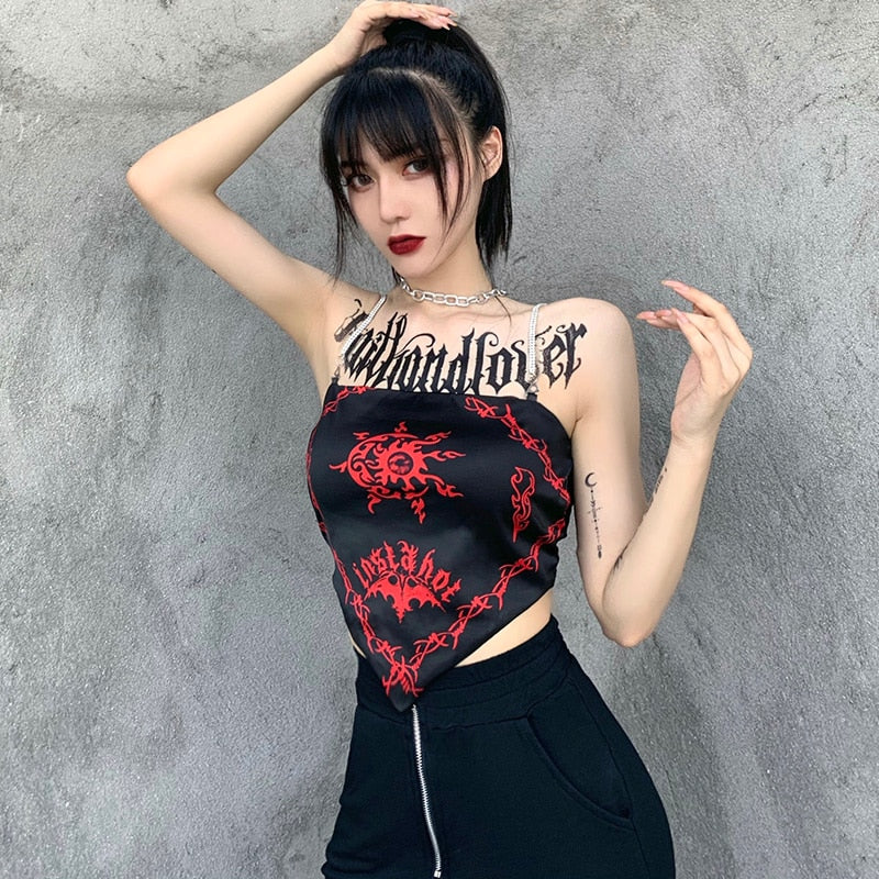 Dangerous Tribal Tank Top - ALTERBABE Shop Grunge, E-girl, Gothic, Goth, Dark Academia, Soft Girl, Nu-Goth, Aesthetic, Alternative Fashion, Clothing, Accessories, Footwear