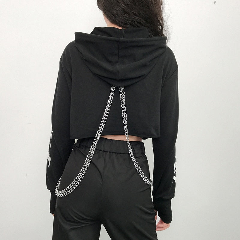 Rock More Chained Hoodie - ALTERBABE Shop Grunge, E-girl, Gothic, Goth, Dark Academia, Soft Girl, Nu-Goth, Aesthetic, Alternative Fashion, Clothing, Accessories, Footwear