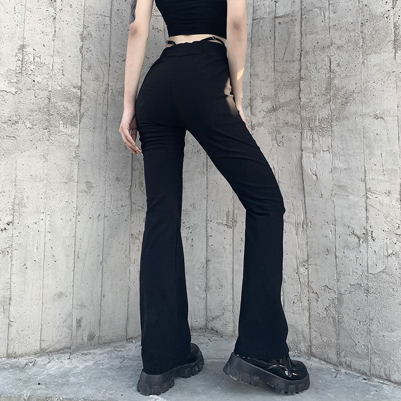 Love Me Flare Trousers - ALTERBABE Shop Grunge, E-girl, Gothic, Goth, Dark Academia, Soft Girl, Nu-Goth, Aesthetic, Alternative Fashion, Clothing, Accessories, Footwear