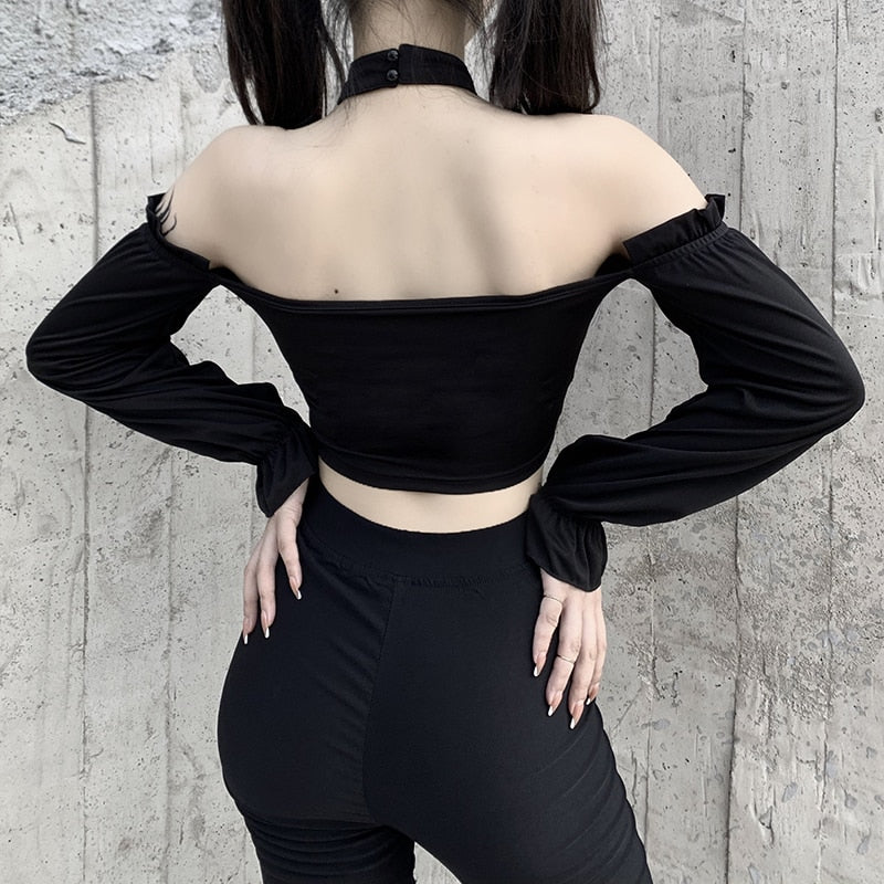 Hurts So Good Off-Shoulder Top - ALTERBABE Shop Grunge, E-girl, Gothic, Goth, Dark Academia, Soft Girl, Nu-Goth, Aesthetic, Alternative Fashion, Clothing, Accessories, Footwear