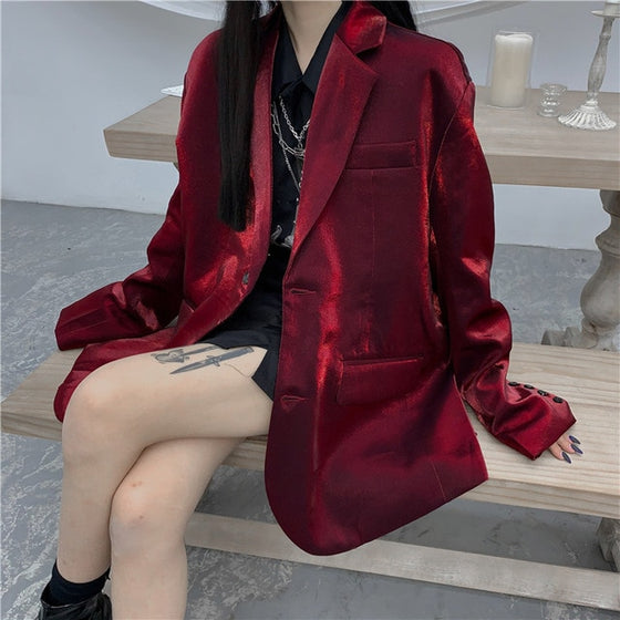 Refines Vibez Blazer Jacket - ALTERBABE Shop Grunge, E-girl, Gothic, Goth, Dark Academia, Soft Girl, Nu-Goth, Aesthetic, Alternative Fashion, Clothing, Accessories, Footwear