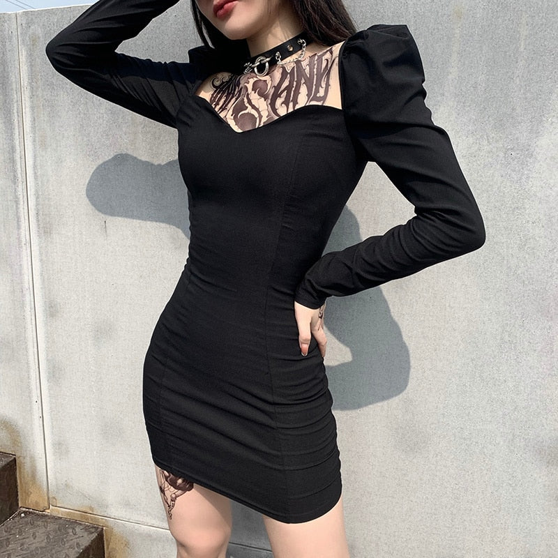 Wicked Spell Bodycon Dress - ALTERBABE Shop Grunge, E-girl, Gothic, Goth, Dark Academia, Soft Girl, Nu-Goth, Aesthetic, Alternative Fashion, Clothing, Accessories, Footwear
