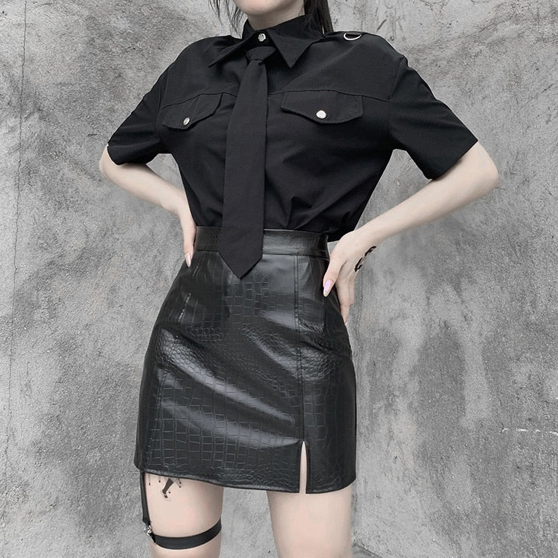 Dressed To Kill Mini Skirt - ALTERBABE Shop Grunge, E-girl, Gothic, Goth, Dark Academia, Soft Girl, Nu-Goth, Aesthetic, Alternative Fashion, Clothing, Accessories, Footwear