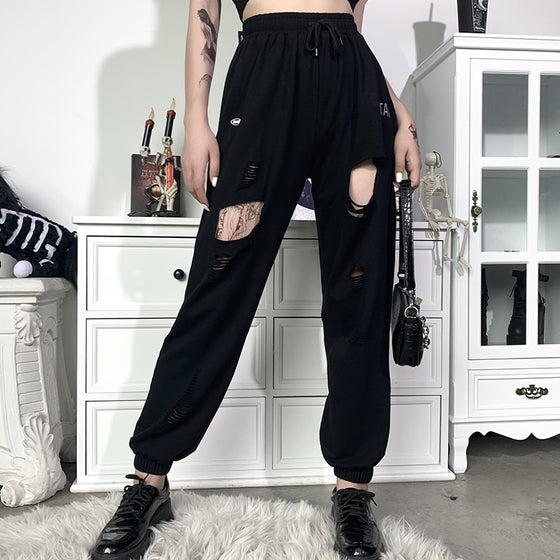 Radical Rage Ripped Sweatpants - ALTERBABE Shop Grunge, E-girl, Gothic, Goth, Dark Academia, Soft Girl, Nu-Goth, Aesthetic, Alternative Fashion, Clothing, Accessories, Footwear