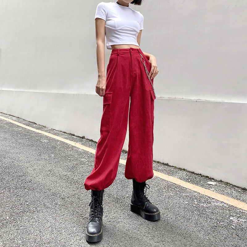 Topic Cargo Corduroy Pants - ALTERBABE Shop Grunge, E-girl, Gothic, Goth, Dark Academia, Soft Girl, Nu-Goth, Aesthetic, Alternative Fashion, Clothing, Accessories, Footwear