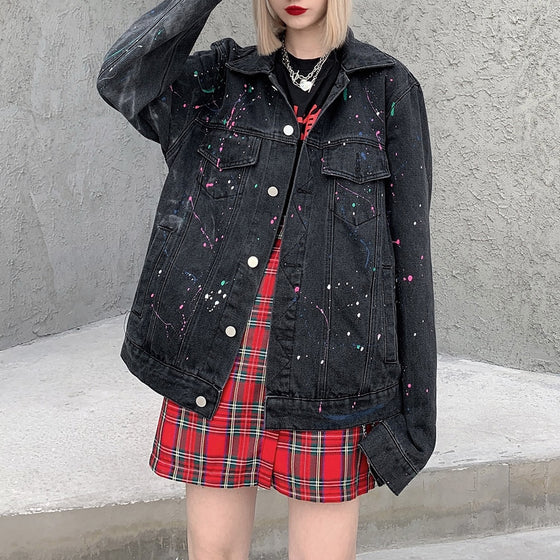 Rainbow Splatter Denim Jacket - ALTERBABE Shop Grunge, E-girl, Gothic, Goth, Dark Academia, Soft Girl, Nu-Goth, Aesthetic, Alternative Fashion, Clothing, Accessories, Footwear