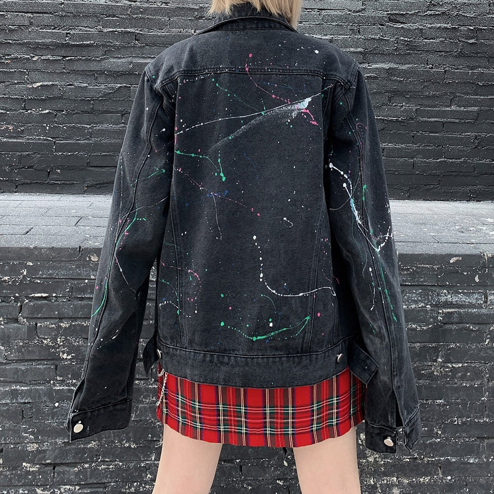 Rainbow Splatter Denim Jacket