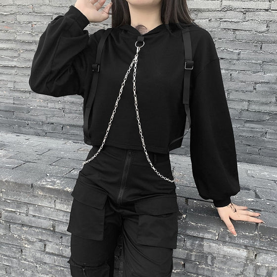Hold Tight Chained Hoodie - ALTERBABE Shop Grunge, E-girl, Gothic, Goth, Dark Academia, Soft Girl, Nu-Goth, Aesthetic, Alternative Fashion, Clothing, Accessories, Footwear