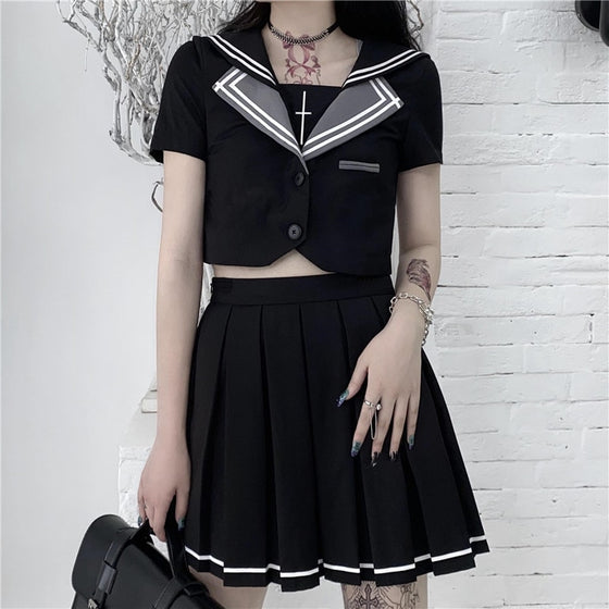 Sailor Goth Set - ALTERBABE Shop Grunge, E-girl, Gothic, Goth, Dark Academia, Soft Girl, Nu-Goth, Aesthetic, Alternative Fashion, Clothing, Accessories, Footwear