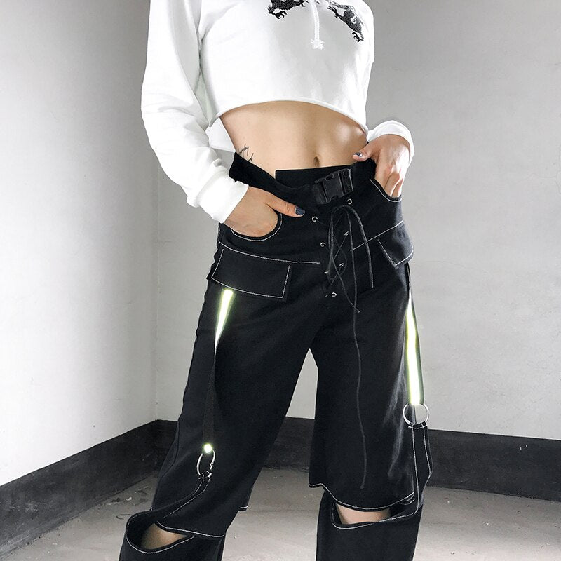 Extra Bad Cut Out Pants - ALTERBABE Shop Grunge, E-girl, Gothic, Goth, Dark Academia, Soft Girl, Nu-Goth, Aesthetic, Alternative Fashion, Clothing, Accessories, Footwear