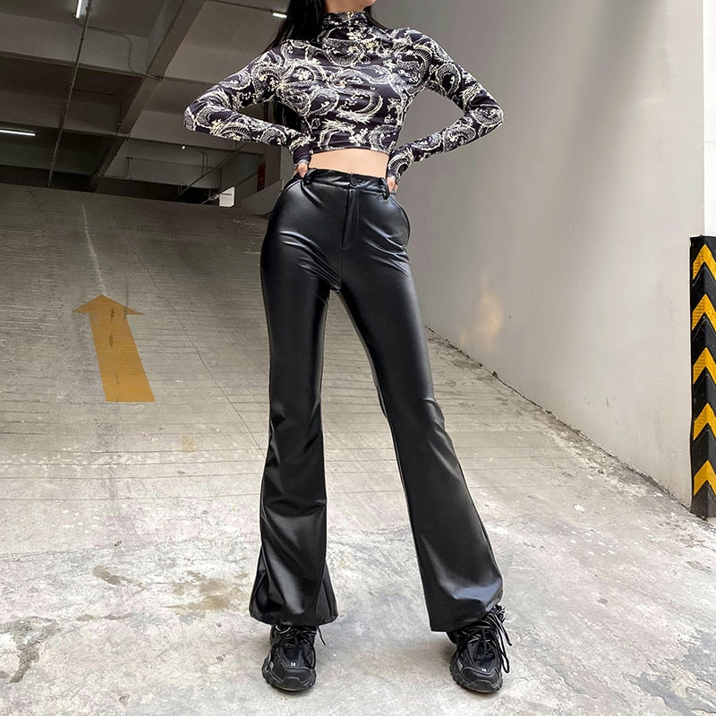 Impure Faux Leather Flare Pants - ALTERBABE Shop Grunge, E-girl, Gothic, Goth, Dark Academia, Soft Girl, Nu-Goth, Aesthetic, Alternative Fashion, Clothing, Accessories, Footwear