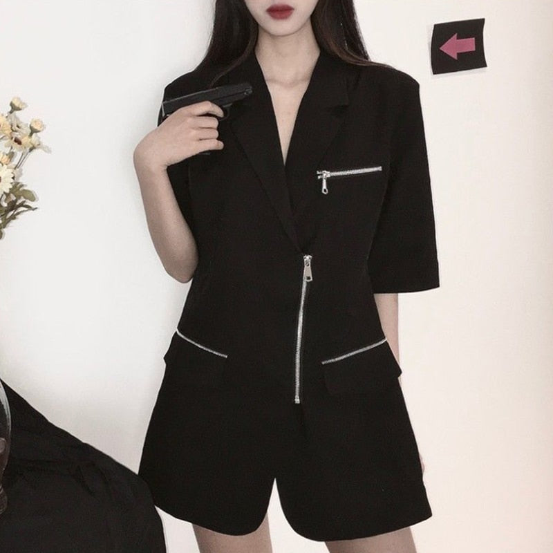 Zipper Blazer Jacket Dress - ALTERBABE Shop Grunge, E-girl, Gothic, Goth, Dark Academia, Soft Girl, Nu-Goth, Aesthetic, Alternative Fashion, Clothing, Accessories, Footwear