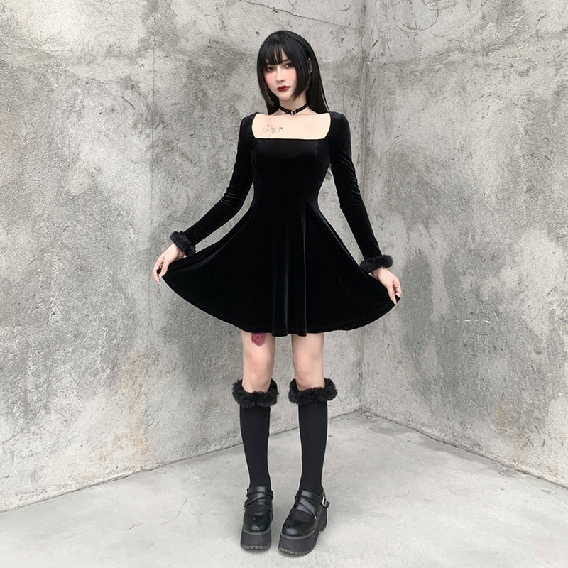 Hot Girl Haunting Velvet Dress - ALTERBABE Shop Grunge, E-girl, Gothic, Goth, Dark Academia, Soft Girl, Nu-Goth, Aesthetic, Alternative Fashion, Clothing, Accessories, Footwear