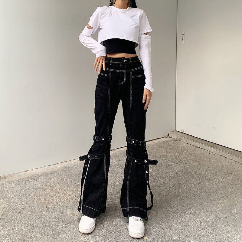 Eazy Breezy Flare Pants - ALTERBABE Shop Grunge, E-girl, Gothic, Goth, Dark Academia, Soft Girl, Nu-Goth, Aesthetic, Alternative Fashion, Clothing, Accessories, Footwear