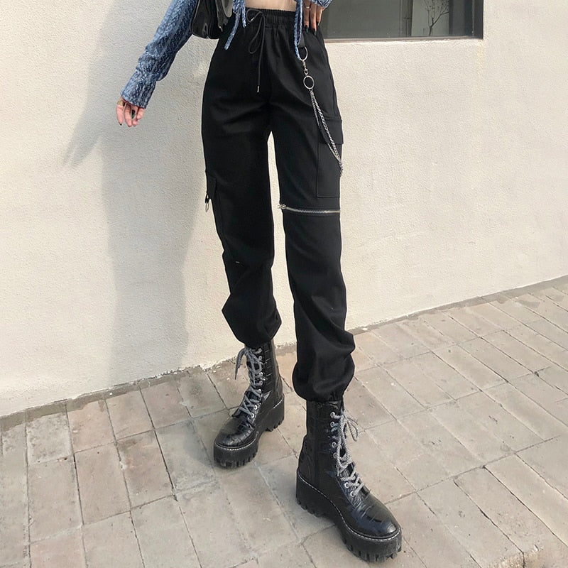 Break The Chain Cargo Pants - ALTERBABE Shop Grunge, E-girl, Gothic, Goth, Dark Academia, Soft Girl, Nu-Goth, Aesthetic, Alternative Fashion, Clothing, Accessories, Footwear