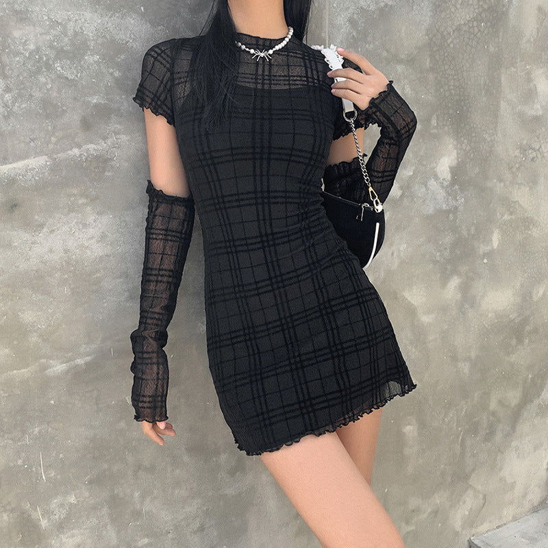 Meshin' Around Plaid Dress - ALTERBABE Shop Grunge, E-girl, Gothic, Goth, Dark Academia, Soft Girl, Nu-Goth, Aesthetic, Alternative Fashion, Clothing, Accessories, Footwear