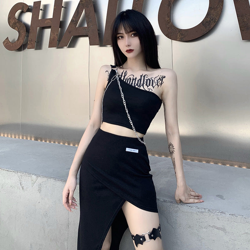 Chained One Shoulder Tank Top